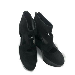 Robert Clergerie Shoes - ROBERT CLERGERIE CUTOUT BLACK SUEDE WEDGE 11